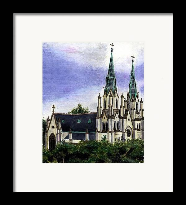 Buildings Framed Print featuring the drawing Savannah Cathedral by Scarlett Royal