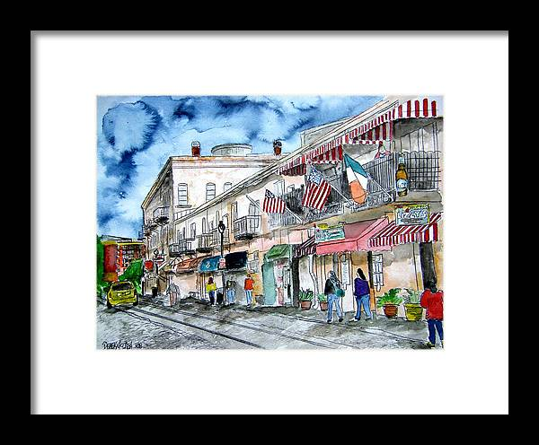 Pen And Ink Framed Print featuring the painting Savannah Georgia River Street by Derek Mccrea