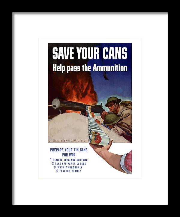 Battlefield Framed Print featuring the painting Save Your Cans - Help Pass The Ammunition by War Is Hell Store
