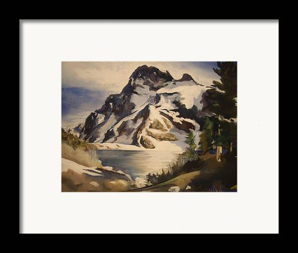 Mountain Framed Print featuring the painting Sawtooth Mountain Lake by Debbie Anderson