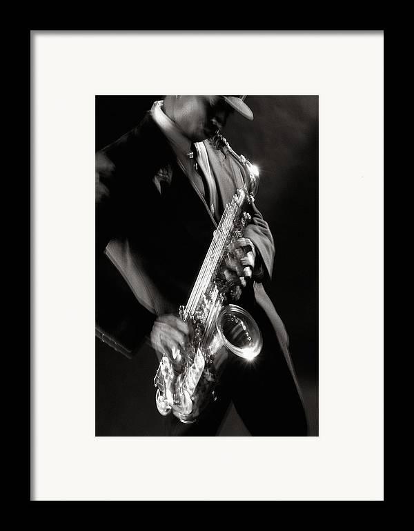Sax Framed Print featuring the photograph Sax Man 1 by Tony Cordoza
