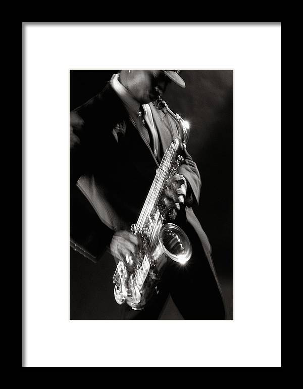 Sax Framed Print featuring the photograph Sax Man 1 by Tony Cordoza
