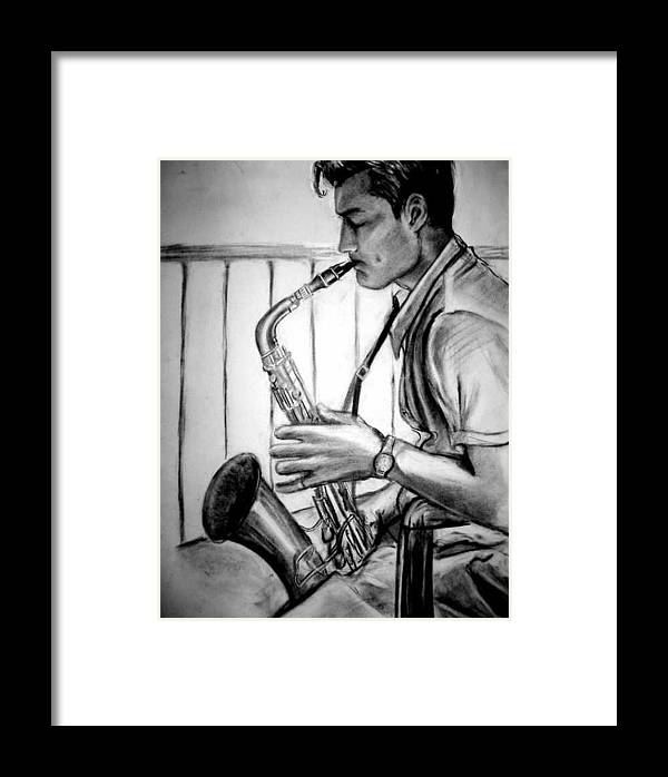 Handsome Man Framed Print featuring the drawing Saxophone Player by Laura Rispoli