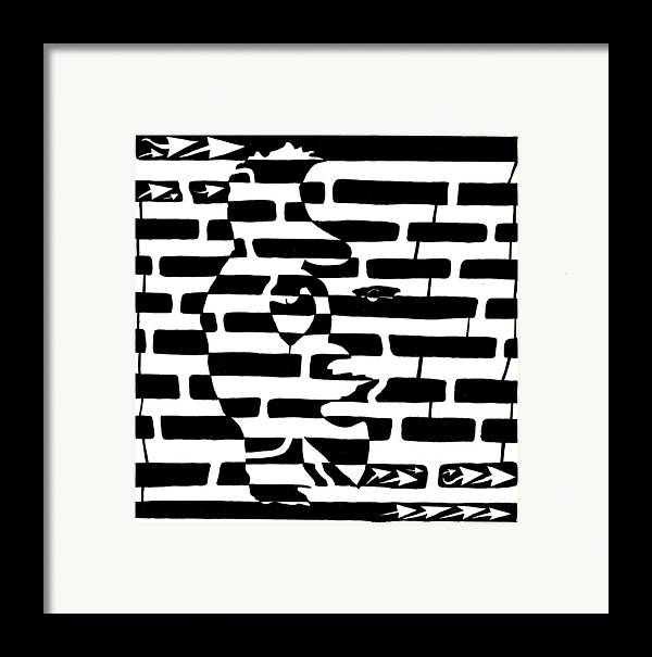 Saxophone Framed Print featuring the drawing Saxophone Player Or Woman Maze by Yonatan Frimer Maze Artist