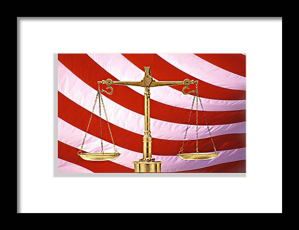 Photography Framed Print featuring the photograph Scales Of Justice American Flag by Panoramic Images