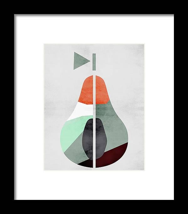 Scandinavian Framed Print featuring the digital art Scandinavian Art Pear Fruit by Pati Photography