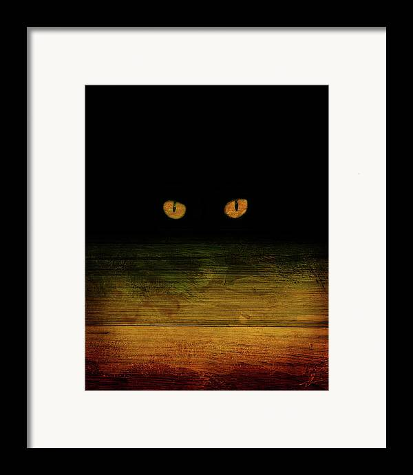 Cat Framed Print featuring the mixed media Scare-d-cat by Shevon Johnson
