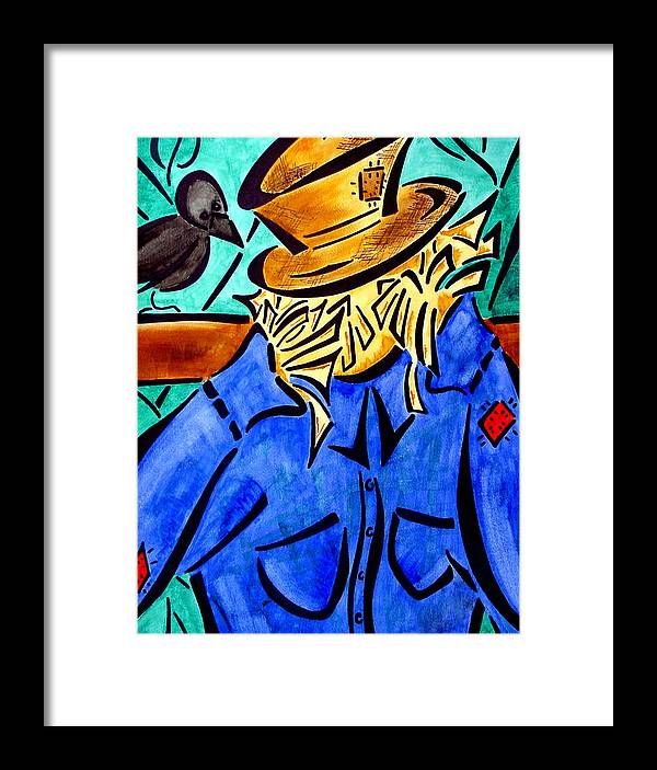 Scarecrow Framed Print featuring the painting Scarecrow by Meilena Hauslendale