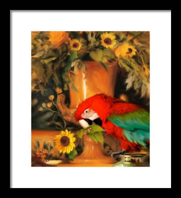 Bird Framed Print featuring the digital art Scarlet Badboy by Stephen Lucas