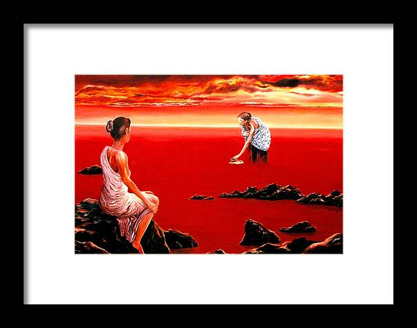 Red Framed Print featuring the painting Scarlet Evening In December by Mark Cawood