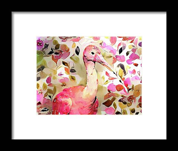 Wildlife Framed Print featuring the digital art Scarlet Ibis by Bunny Clarke