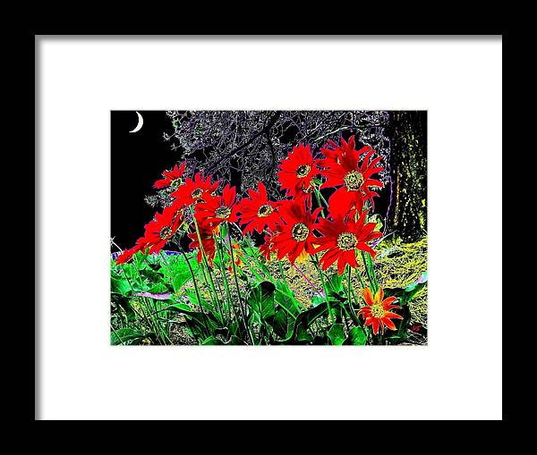 Abstract Framed Print featuring the digital art Scarlet Night by Will Borden