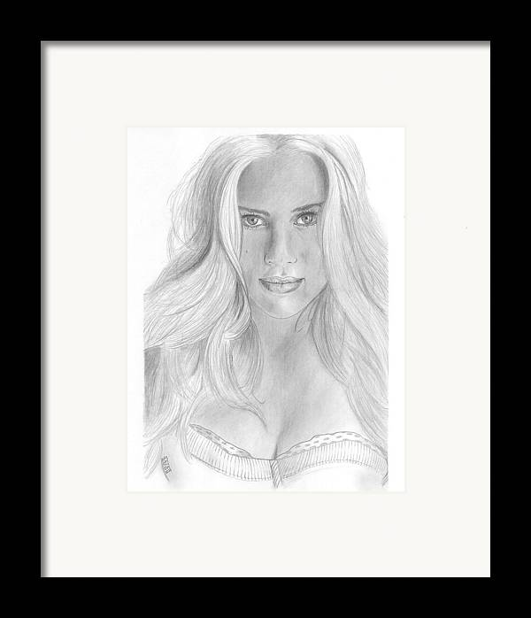 Scarlett Johannson Framed Print featuring the drawing Scarlett Johannson by David Seter