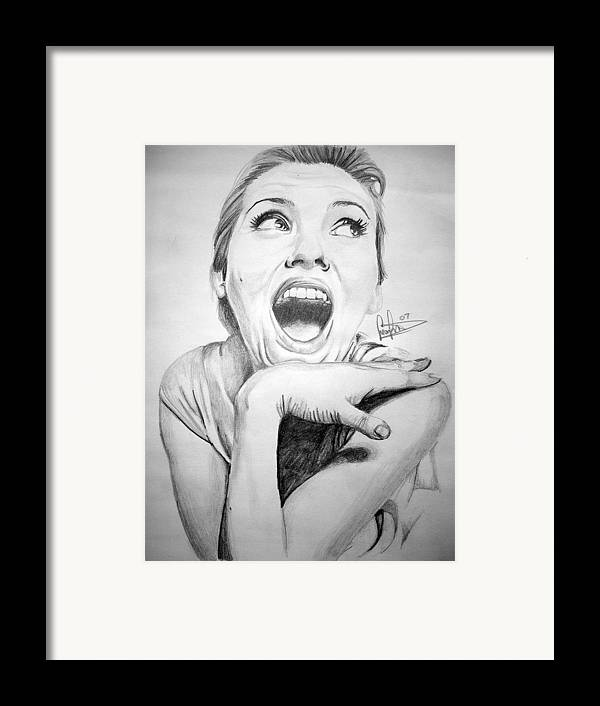 Celeb Portraits Framed Print featuring the drawing Scarlett Johansson by Sean Leonard