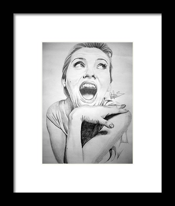Celeb Portraits Framed Print featuring the drawing Scarlett Johansson by Sean Leonard