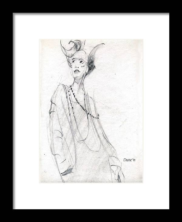 Lady With Scary Look Framed Print featuring the drawing Scary by Bob Duncan