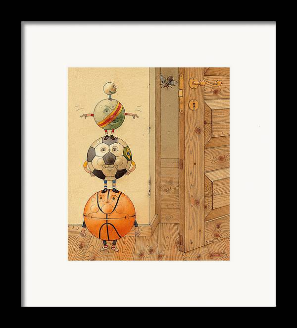 Ball Sport Room Door Fly Framed Print featuring the painting Scary Story by Kestutis Kasparavicius