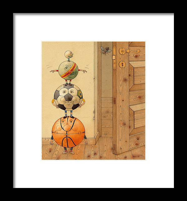 Ball Sport Room Door Fly Basketball Football Play Framed Print featuring the painting Scary Story by Kestutis Kasparavicius