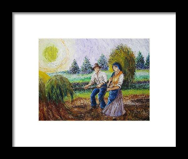 Campagna Framed Print featuring the painting Scene Campestri 1 by Luca Corona
