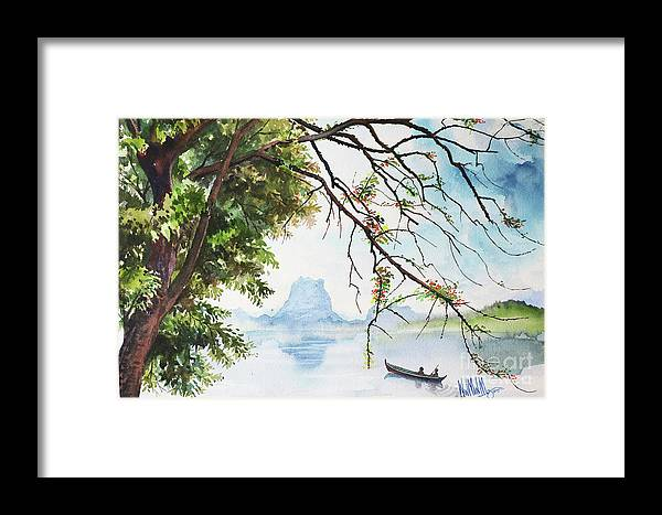 Landscape Framed Print featuring the painting Scenery_01 by Win Min Mg