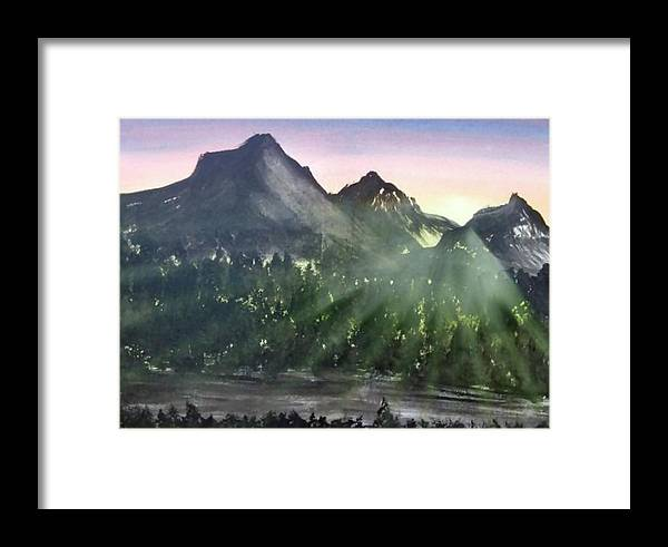 Landscape Mountains Light Sunset Impressionism Ervin Sloan Framed Print featuring the painting Scenic Drive by Ervin Sloan