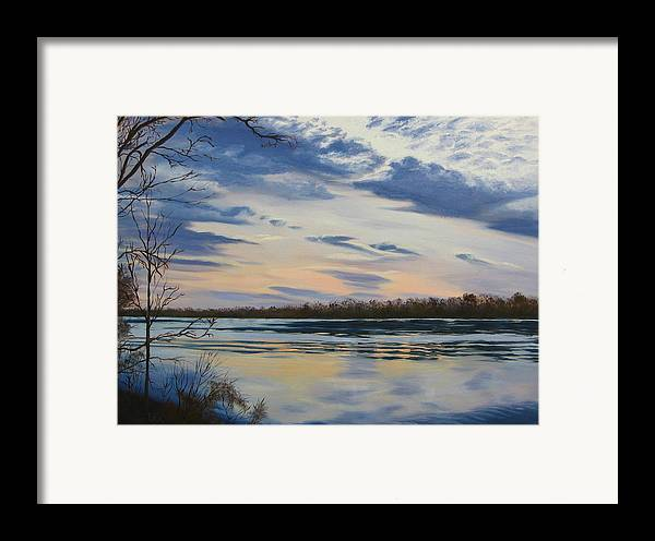 Clouds Framed Print featuring the painting Scenic Overlook - Delaware River by Lea Novak
