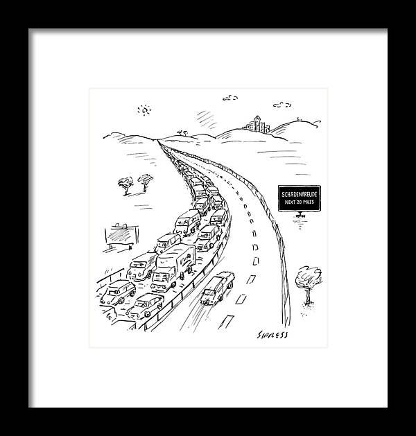 """schadenfreude Next 20 Miles"" Framed Print featuring the drawing Schadenfreude Next 20 Miles by David Sipress"