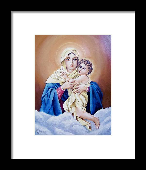 Religious Framed Print featuring the painting Schoenstat-tribute by Natalia Tejera