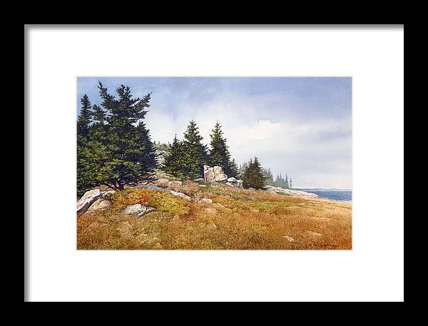 Seascape Framed Print featuring the painting Schoodic Coast by Tom Wooldridge