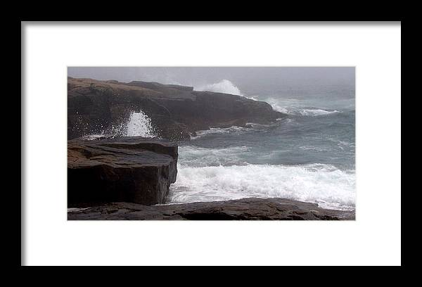 Waves Framed Print featuring the photograph Schoodic Point by Lisa Kane