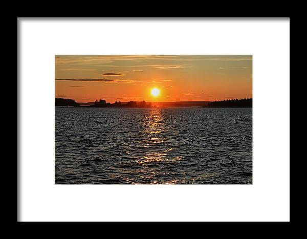 Maine Framed Print featuring the photograph Schoodic Sunset With Island Lighthouse by Scott Bricker