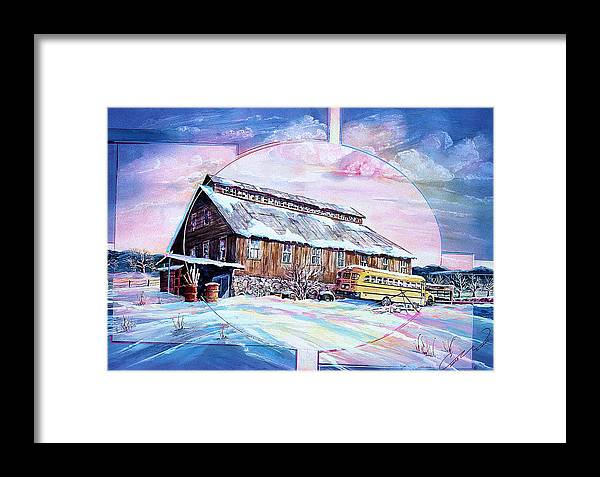 Bar Framed Print featuring the painting School Bus And Barn by Connie Williams
