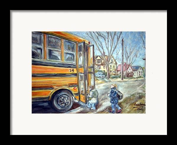 Landscape With Children Houses Street School Bus Framed Print featuring the painting School Bus by Joseph Sandora Jr