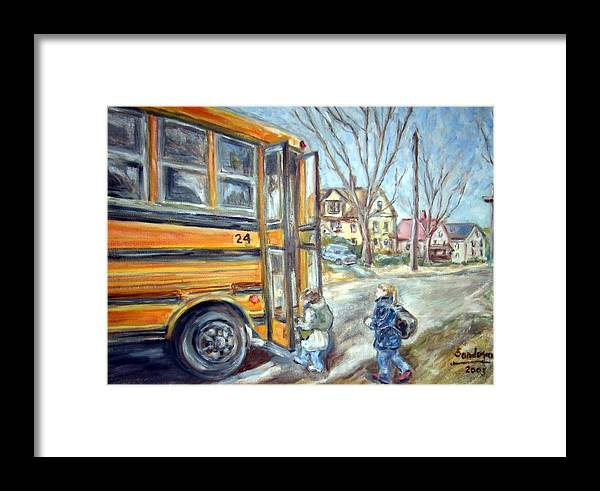 Landscape With Children Houses Street School Bus Framed Print featuring the painting School Bus by Joseph Sandora Jr