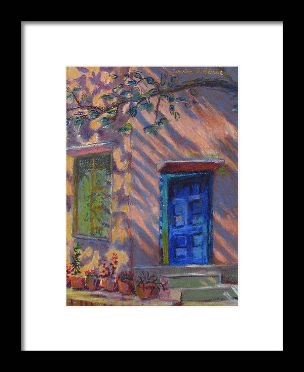 Landscape Framed Print featuring the painting School Room Door Varanasi India by Art Nomad Sandra Hansen