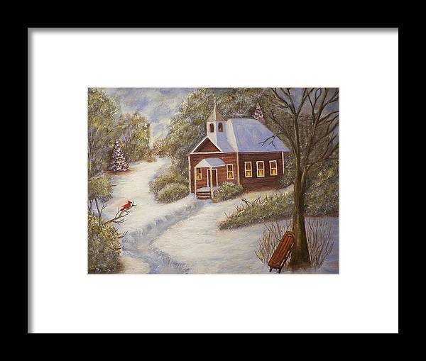 Snowscene Framed Print featuring the painting Schools Out by Charles Vaughn