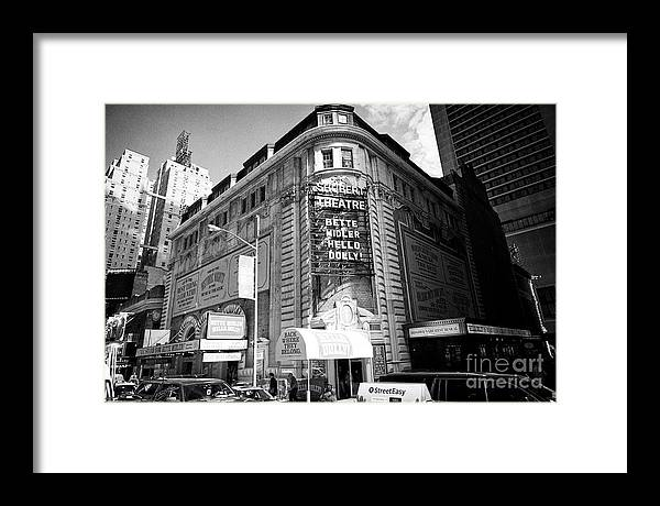 Theatre Framed Print featuring the photograph schubert theatre featuring hello dolly New York City USA by Joe Fox