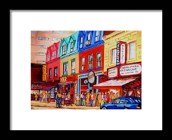 Cityscape Framed Print featuring the painting Schwartz Lineup With Simcha by Carole Spandau