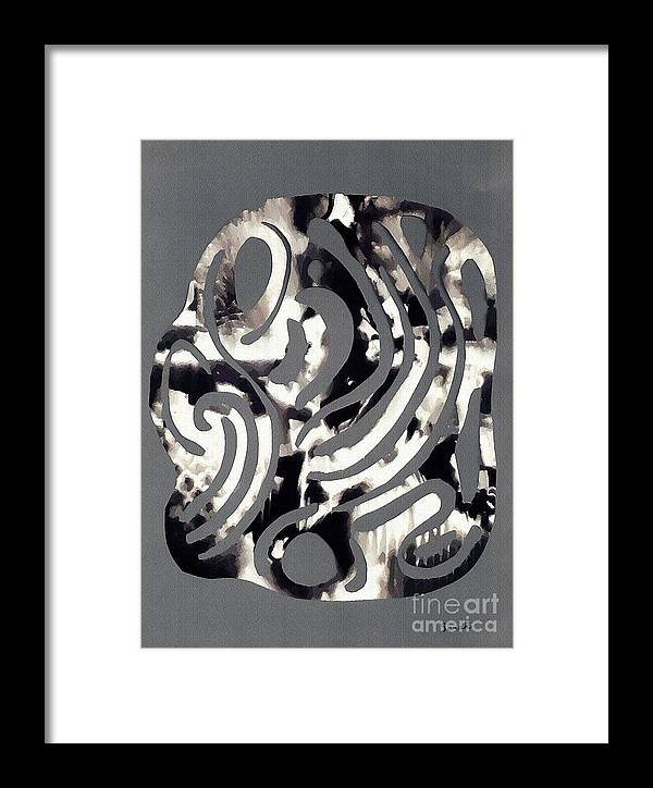 Curve Framed Print featuring the mixed media Scissor-cut Abstraction by Sarah Loft