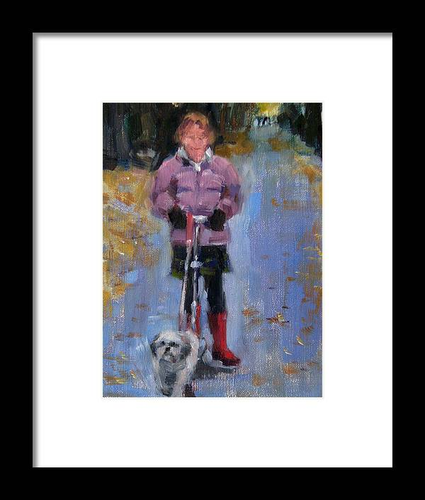 Child Framed Print featuring the painting Scooting Down The Street by Merle Keller