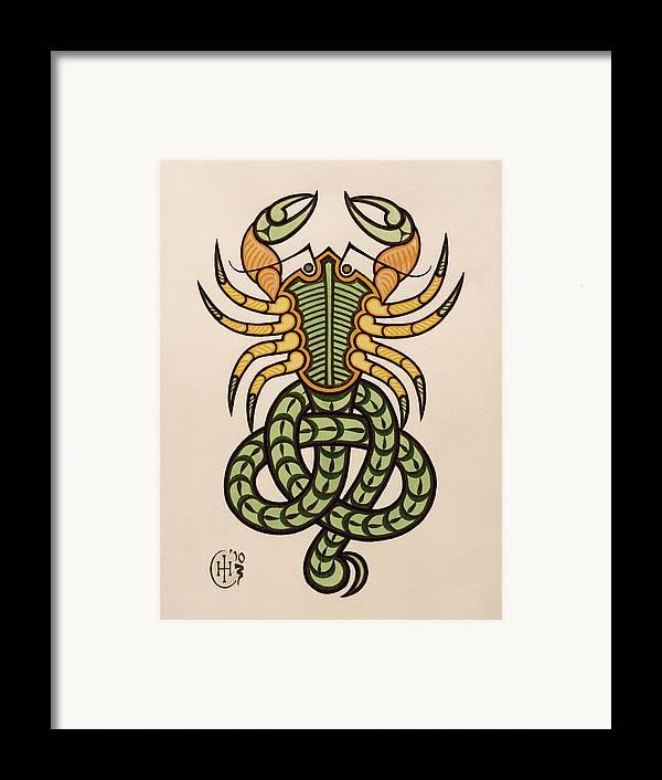 Celtic Zodiac Scorpio Scorpion Knotwork Framed Print featuring the painting Scorpio by Ian Herriott