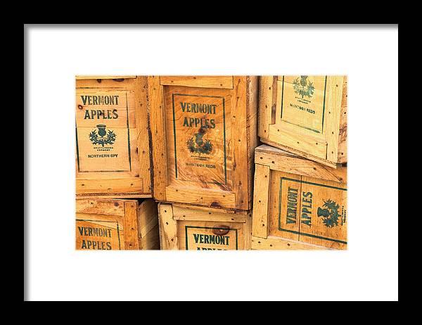 Scott Farm Vermont Framed Print featuring the photograph Scott Farm Apple Boxes by Tom Singleton
