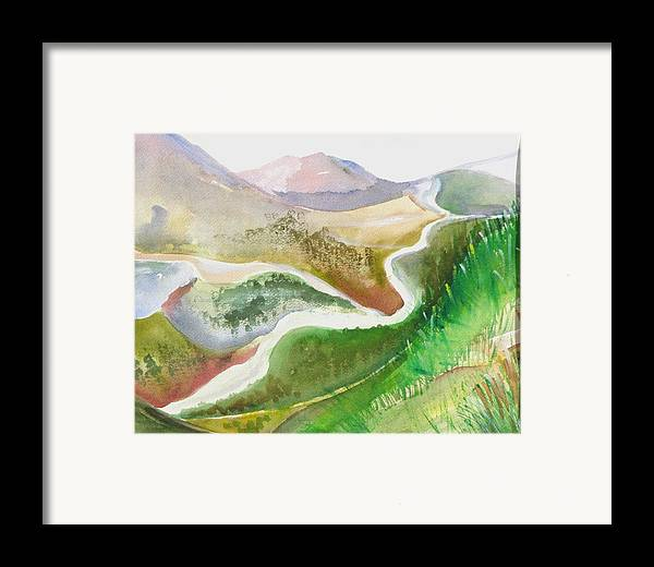 Landscape Framed Print featuring the painting Scottish Glen by Kathy Mitchell