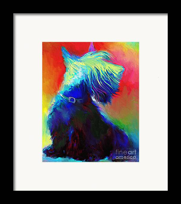 Scottish Terrier Painting Framed Print featuring the painting Scottish Terrier Dog Painting by Svetlana Novikova