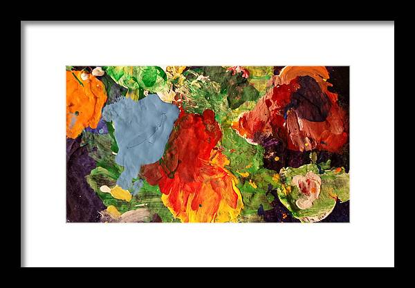 Abstract Framed Print featuring the painting Scramble by Ferdinand Amboy