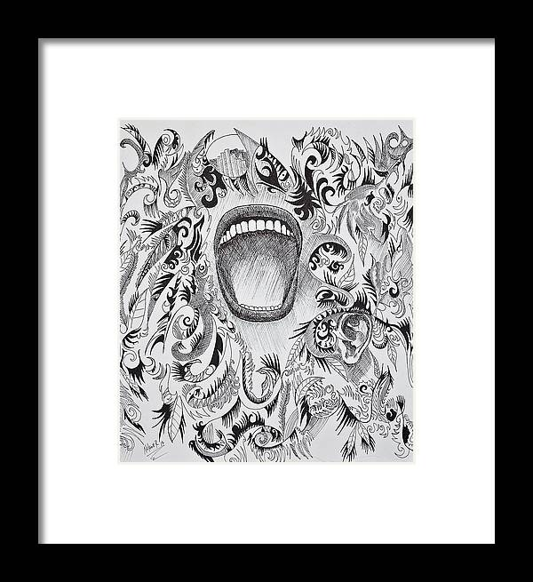 Pen Framed Print featuring the drawing Scream by Nelson Rodriguez