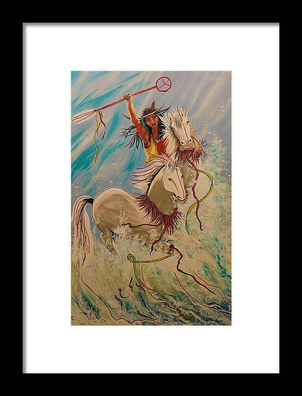 Horses Framed Print featuring the painting Scream Of Peace by V Boge