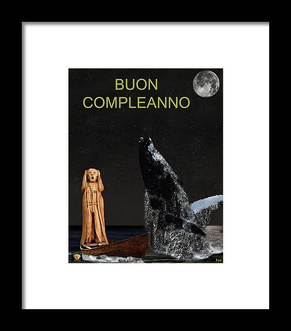 Boun Compleanno Framed Print featuring the mixed media Scream With Humpback Whale Italian by Eric Kempson