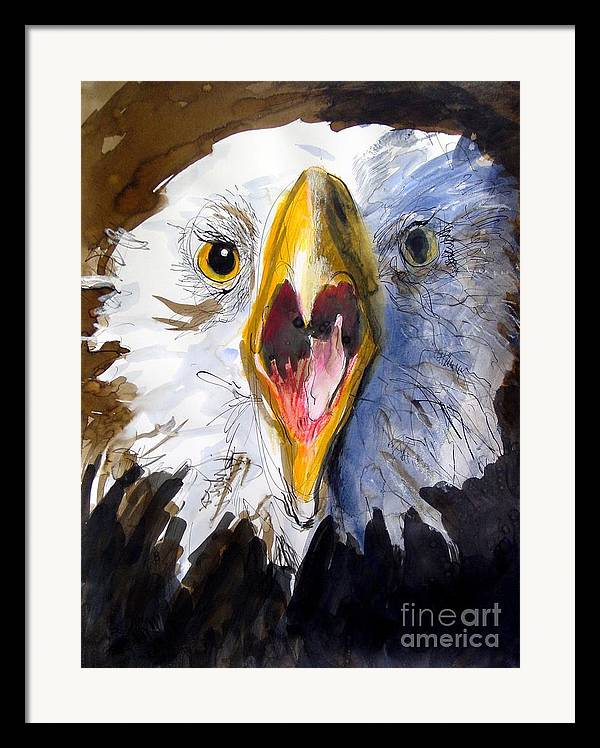 Wildlife Framed Print featuring the painting Screaming Eagle 2004 by Paul Miller