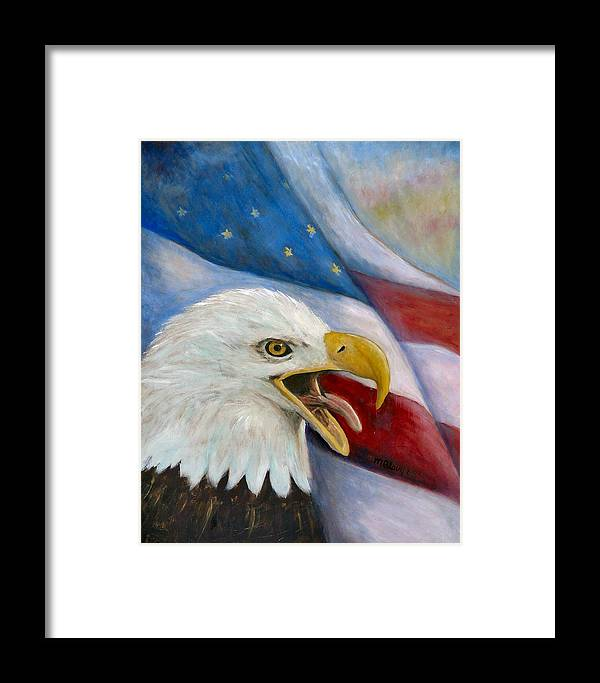 Birds Framed Print featuring the painting Screaming Eagle by Merle Blair